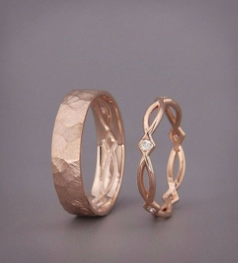 His and Hers Celtic Wedding Band Set | Rose Gold Celtic Wedding Ring Set with Diamonds | Eternity We