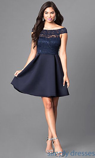 817e48f61b91d Shop navy blue off-the-shoulder semi-formal dresses at Simply Dresses. Short  party dresses with lace bodices and a-line skirts for homecoming.