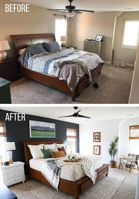An amazing master bedroom makeover This natural and modern style literally transformed this bedroom Make sure to see all of the before and after shots too masterbedroom beforeandafter bedroommakeover bedroomdesign bedroomflip bedroomdecor Diy Home Decor Rustic, Farmhouse Decor, Modern Farmhouse, Sweet Home, Diy Casa, Master Bedroom Makeover, Bedroom Makeover Before And After, Suites, New Furniture