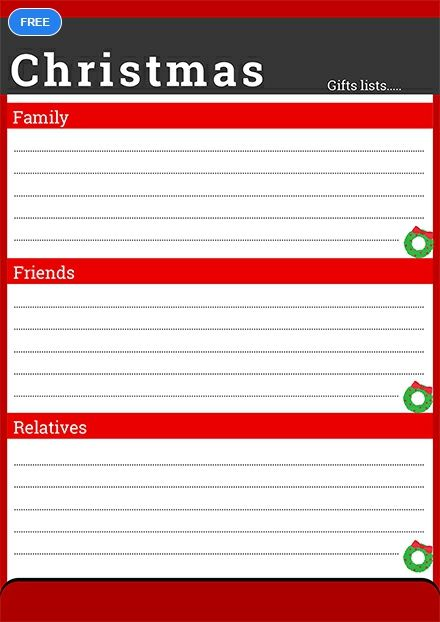 Christmas Wish List For Family Template Free Pdf Word Doc Apple Mac Pages Christmas Gifts Lists Free Christmas Gifts Christmas Wishes