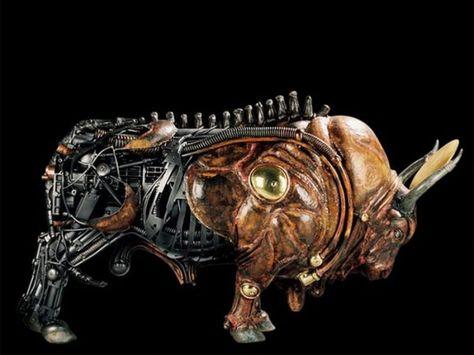 Amazing steampunk sculpture.