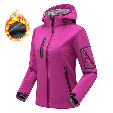 Season:Winter,Spring,Autumn / Fall; Fabric:Softshell,Fleece,Nylon; Sleeve Length:Long Sleeve; Look After Me:Washable,Dry flat; Gender:Women's; Activity:Camping / Hiking / Caving,Mountaineering,Ski / Snowboard; Clothing Type:Winter Jacket,Jacket,Top; Zipper Type:Single Slider; Occasion:Outdoor,Sports  Outdoor; Age Group:Adults'; Function:Windproof,Rain Waterproof,Waterproof,Wear Resistance,Breathable; Pattern:Solid Color; Sports Clothing Sub Category:Hiking Jacket,Hiking Softshell Jacket; Net Dim