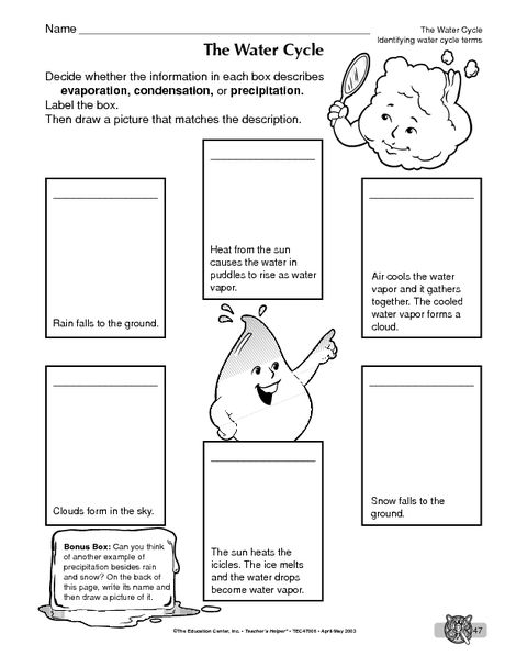 The Water Cycle Crossword Puzzle Worksheet | Hot Resources 2.4 ...
