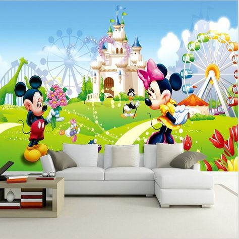 Mickey Minnie Mouse Amusement Park Cartoon Wall Mural In