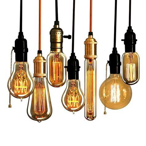 T30 Long Tube Wire Filament Vintage Light Bulb E27 40W Retro Edison Bulb