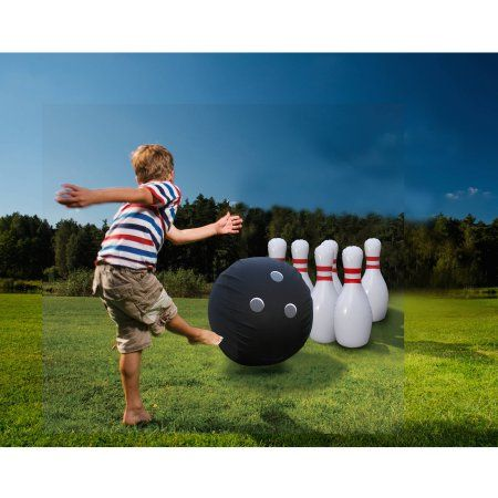 Giant Inflatable Bowling Game Walmart Com In 2020 Bowling Games Outdoor Yard Games Summer Family Fun
