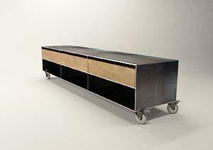 Design Tv Sideboard Lowboard Oak On Castors Metal Bestseller