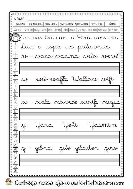 Caderno De Caligrafia Gratis Letras E Palavras Em Pdf Com Imagens