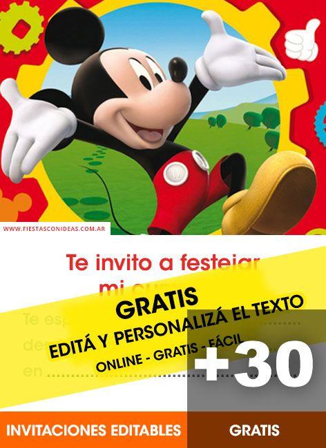 30 Tarjetas De Cumpleaños De Mickey Mouse Invitación De