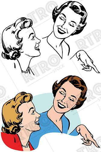 Two Women Smiling Talking And Pointing Vintage Retro Clipart Clip Art Clip Art Vintage Mandala Design Art Stock Images Free