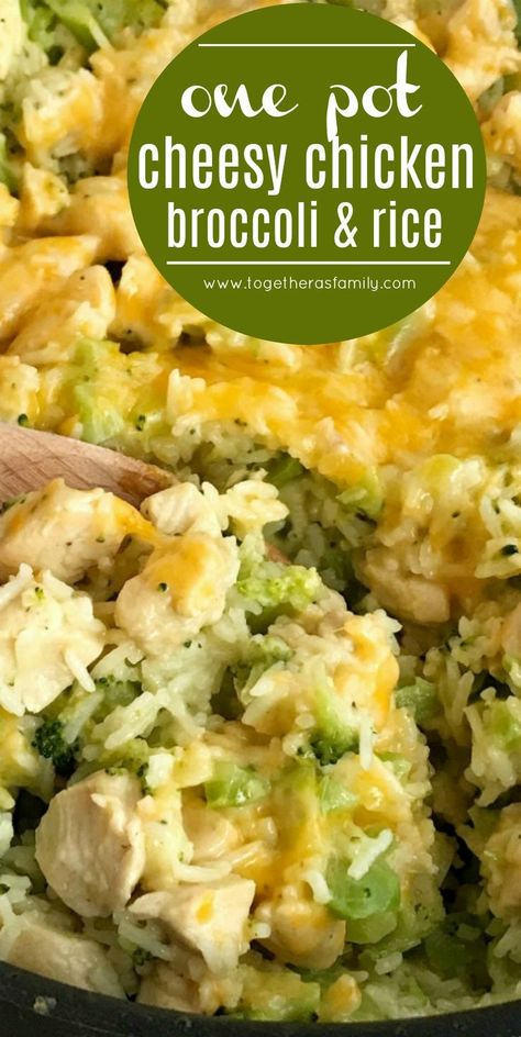 One pot cheesy chicken broccoli rice is a quick & easy skillet dinner. Broccoli, rice, chicken chunks, and cheese cook in one pot for a delicious dinner. Easy Skillet Dinner, Skillet Dinners, Skillet Recipes, Casserole Recipes, Casserole Ideas, Keto Casserole, Potato Casserole, Potato Soup, Def Not