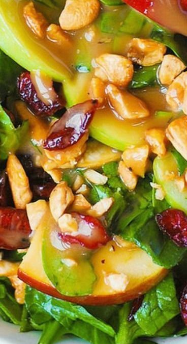 Apple Cranberry Spinach Salad with Cashews and Balsamic Vinaigrette #salad #apples #cranberries #spinach #cashews #nuts #fruit #balsamic #healthy #healthysalad #spinachsalad #applesalad #cranberrysalad
