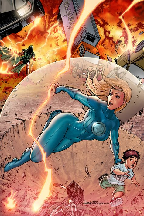 Fantastic Four: Invisible Woman (Sue Storm) by Harvey Tolibao Marvel Comic Character, Comic Book Characters, Comic Book Heroes, Marvel Characters, Comic Books Art, Comic Art, Hq Marvel, Marvel Girls, Comics Girls