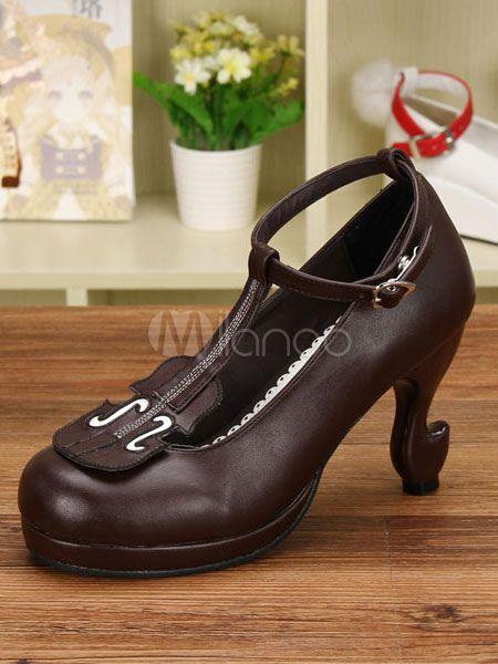 d47ce996091 Deep Brown Print PU Lolita Heels for Women #Print, #Brown, #Deep ...