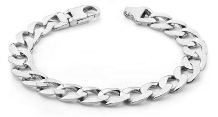 14k White Gold Curb Link Bracelet Chains For Men