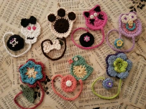 Crochet bookmarks (I like the paw print)