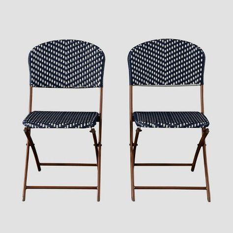 French Café Wicker Folding Patio Bistro Chair - Navy/White - Threshold™  Target  sc 1 st  Pinterest & French Café Wicker Folding Patio Bistro Chair - Navy/White ...