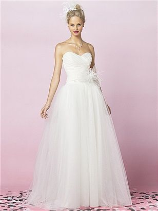 Ballerina skirt, sweetheart neckline, and feather detail at natural waist. By After Six. Just $570!