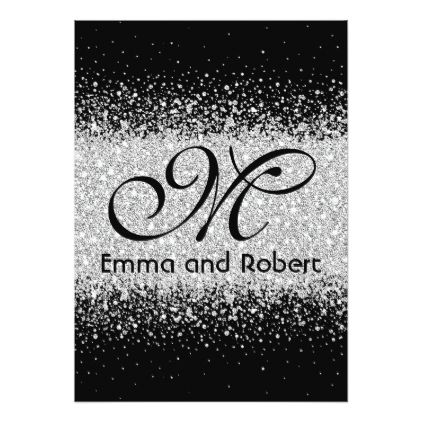 Silver Glitter On Midnight Black Background Invitation