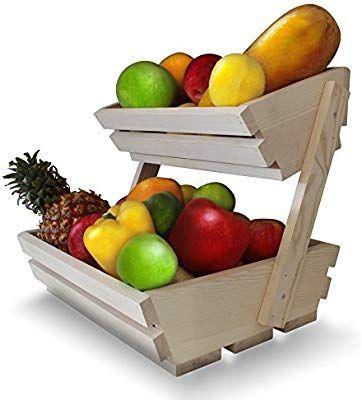 Amazon Com Fruit Basket Stand Premium 2 Tier Wooden Display Rack