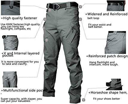 UK Mens Outdoor Cargo Bottoms Combat Work Long Pants Tactical Hiking Trousers