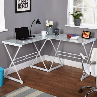 L Shaped Tempered Glass Desk White Buylateral Home Office Furniture Desk Home Office Furniture Glass Desk