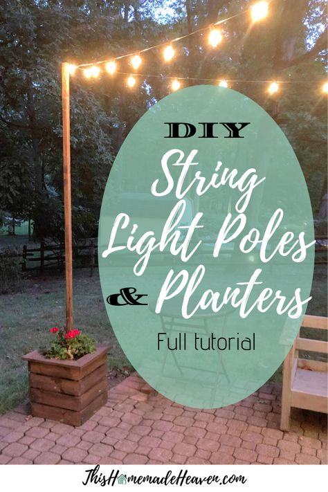 This tutorial for these DIY String Light Poles and Planters will show you how to build beautiful light poles for your backyard using just a few materials. Beautify the outdoors! Read what I learned building these DIY String Light Poles as a beginner. Backyard String Lights, Backyard Lighting, Outdoor Lighting, Outside Lighting Ideas, Garden Lighting Diy, Patio Diy, Backyard Patio, Backyard Landscaping, Outdoor Patio Ideas On A Budget Diy