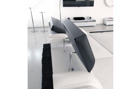Superb  Moderne Design Wohnlandschaft TURINO U Form aus Leder mit LED Beleuchtung Multifunktionale Kopfst tzen und optionale Schlaffunktion in der u
