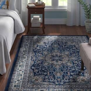 Willard Floral Handmade Tufted Wool Navy Tan Area Rug Area Rugs Square Area Rugs Art Of Knot