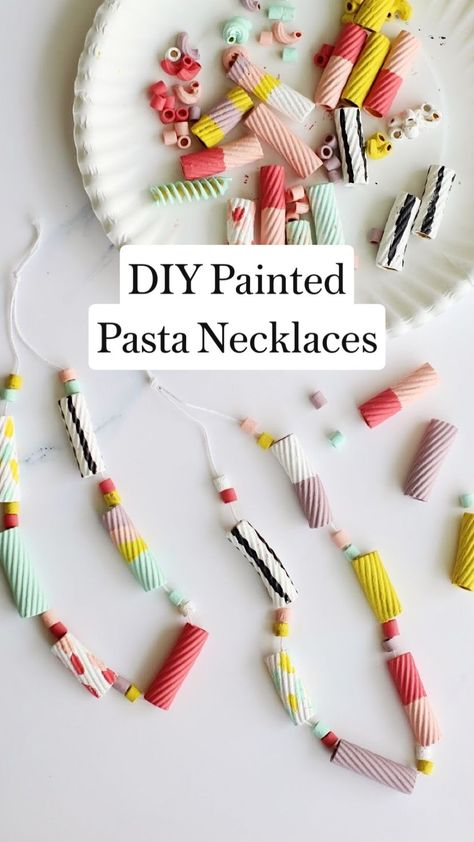 Free DIY Painted Pasta Necklaces