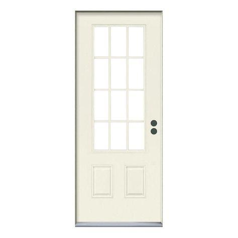 Jeld Wen 32 In X 80 In 12 Lite Primed Steel Prehung Left Hand Inswing Back Door Thdjw190900023 Front Door Home Jeld Wen
