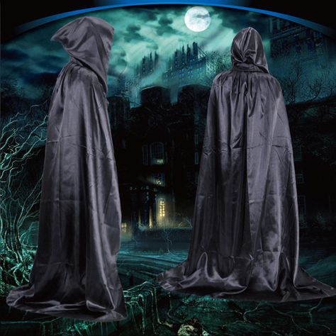 3ce0a20132 1.8m Fashion Sorcerer Death Cloak Halloween Costumes Halloween Cosplay  Theater Prop Death Hoody Cloak Devil Mantle Hooded Cape