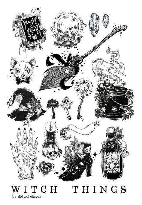 Spooky Tattoos, Witch Tattoo, Halloween Art, Halloween Tattoo Flash, Cute Halloween Tattoos, Tattoo Flash Art, Witch Art, Witch Aesthetic, Book Of Shadows