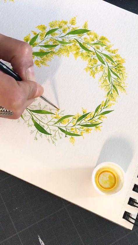 Découvrez une partie du processus pour la création d'une couronne de mimosa. Cette aquarelle est à retrouver sur l'un des faire-parts mariage de la collection du Studio Visual by V. Rendez-vous sur me boutique pour le découvrir. . . #createtoinspire #aquarelle #mimosa #watercolor #flower