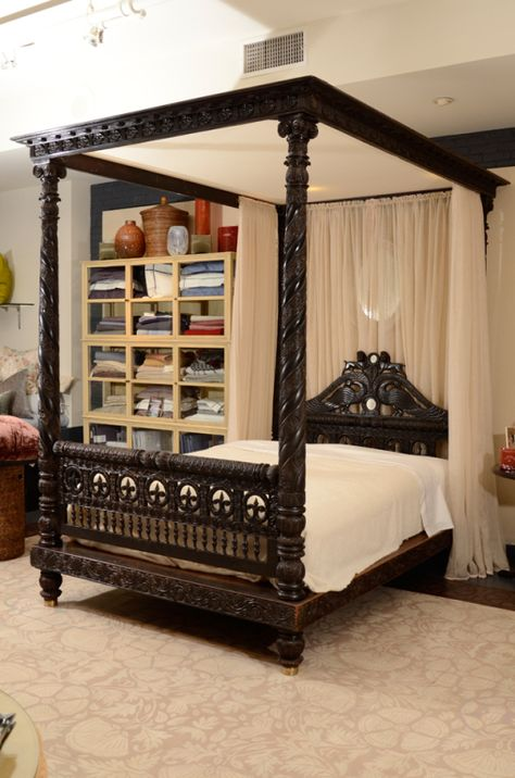 A Finely Carved Anglo-Indian Ebonized Mahogany Tester Bed | Ethnic ...