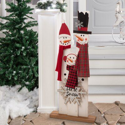 The Holiday Aisle Deer Family Porch Sign Wooden Snowman Christmas Crafts Decorations Front Porch Christmas Decor