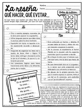 Unidad De Escritura La Reseña Spanish By La Misi De Espanol Teachers Pay Teachers Writing Units Persuasive Writing Teaching