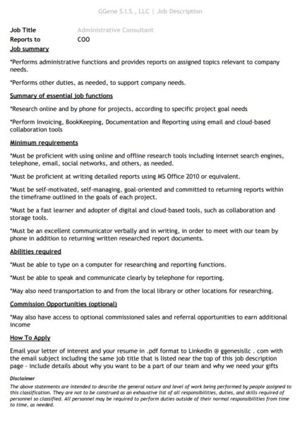Check Out Job Description u2013 Administrative Consultant Donna - administative consultant sample resume