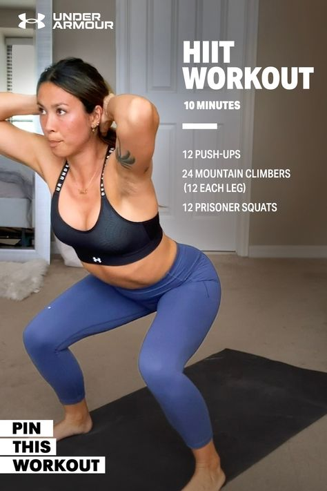 Watch this 10 minute no-equipment AMRAP workout that you can do from home. Amrap Workout, Gym Workout Tips, Fitness Workout For Women, At Home Workout Plan, Workout Challenge, Hiit, Workout Videos, At Home Workouts, Workout Plans