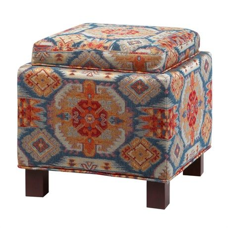 These square storage ottomans with two matching accent pillows bring a room's décor together as an ideal way to add that extra splash of color and comfort to your living space.