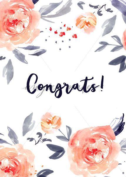 Congrats Card Background Cute Congrats Card With Watercolor Flowers Congrats Card Cute Flower Drawing Watercolor Flowers