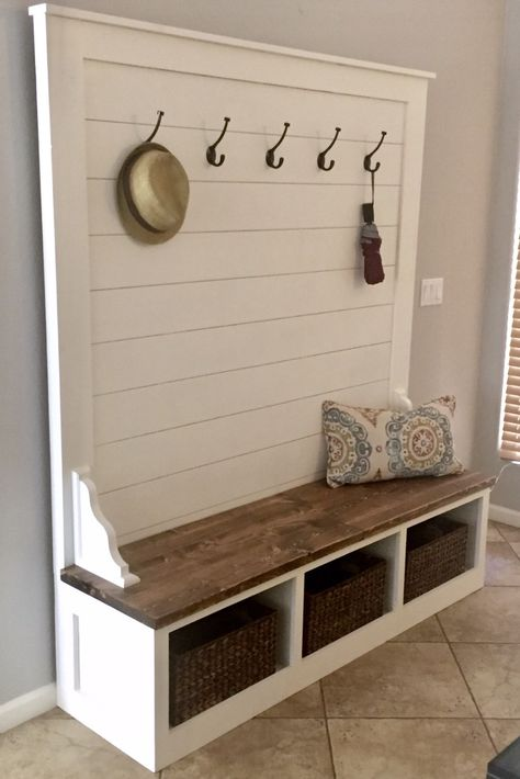 Shiplap Hall Tree Bench Plans — the Awesome Orange entryway ideas with bench . Shiplap Hall Tree Bench Plans — the Awesome Orange entryway id. - My Website 2020 Upper East Side Apartment, Cubbies, Fall Entryway Decor, Entryway Ideas, Entryway Hall Tree Bench, Hall Tree Storage Bench, Cubby Bench, Hall Bench, Woodworking Furniture Plans