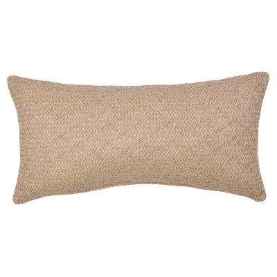 woven outdoor lumbar throw pillow tan