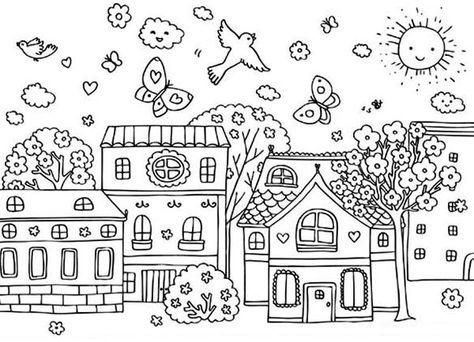 Spring Spring Season At Village Coloring Page Detailed