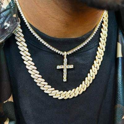 Diamond Prong Set Cuban And Iced Cross Tennis Chain Bundle In 2020 Real Gold Chains Diamond Cross Pendants Cuban Link Necklace