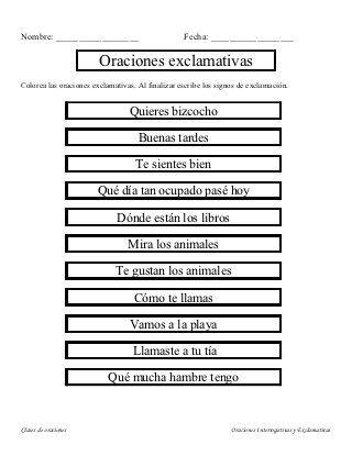 Oraciones Exclamativas E Interrogativas Education English