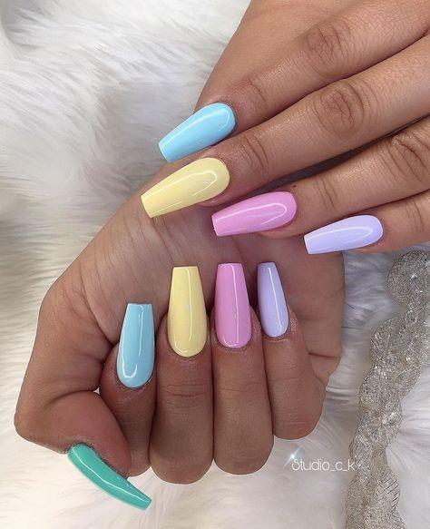 Cute Acrylic Nail Designs, Simple Acrylic Nails, Acrylic Nails Coffin Short, Blue Acrylic Nails, Summer Acrylic Nails, Pastel Nails, Fake Nail Designs, Baby Pink Nails Acrylic, Colourful Acrylic Nails