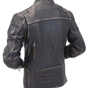 Mens Vintage Biker Black Leather Jacket In Usa Uk Canada Germany France New York Los Angeles Chicago Houston Philadelphia Phoenix San Antonio San Di Distressed Leather Jacket Cafe Racer Jacket Cafe