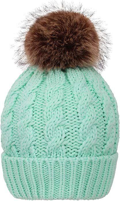 43fc220f1 Simplicity Winter Hat Hand Knit Faux Fur Pompoms Beanie for Women ...