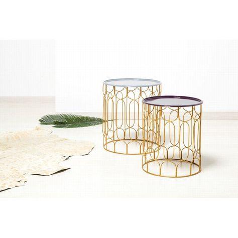 Set De 2 Tables D Appoint Bout De Canape Mirma En Metal Gris
